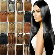 """15""""18""""20""""22""""24""""26""""28""""7PCS Clip In 100% Real Remy Human Hair Extensions Straight"""