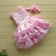 2Pcs Baby Girl Infant Outfit Tutu Skirt Ruffled Dress+Flower Headband 6-24M Xmas