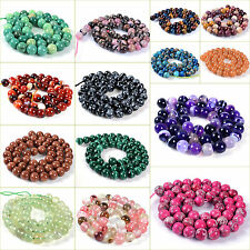8mm round sphere loose gemstone DIY jewelry making beads strand 16""