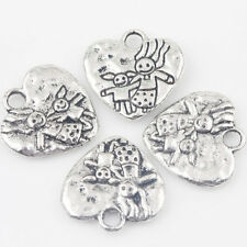 10/20Pcs Tibet Silver Two Persons Carved Heart Charms Pendant Making DIY 16*15mm