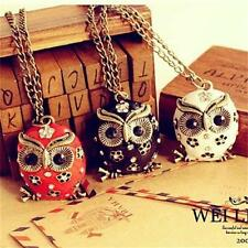Charming Retro Hot Crystal Rhinestone Owl Pendant  long Sweater Chain Necklace