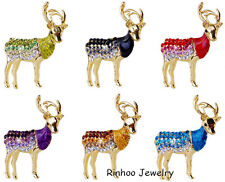 Lucky Deer Animal Crystal Brooch Pins Gold Fashion Women Jewelry Christmas Gifts