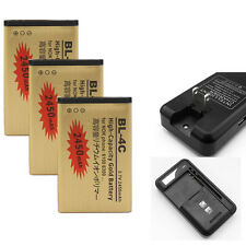 Gold Li-ion Polymer Battery + Dock Charger For Nokia BL-4C 5100 6100 6300 6600