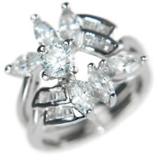 2.9CTW ROUND/MARQUISE/BAGUETTES WEDDING RING SET (2 RINGS) size #6,7,8,9,10