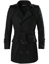 Men Button-tab Epaulets Long Sleeve Double Breasted Belted Worsted Coat