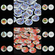 50pcs 2-Hole Flat Round Printed Wooden Sewing Buttons Christmas Gifts 13/15/20mm