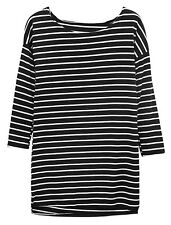 Women Stripes Loose Boat Neck Batwing Sleeves Tunic Top