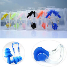 Lot Silicone Swim Ear Plugs & Nose Clip Set W/ Box For Kids Adults Muti-color