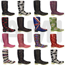 LADIES WOMENS GIRLS FUNKY WELLIES BOOTS SIZE 3 4 5 6 6.5 7 WINTER RAIN WELLY