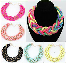 New hot Fashion Lady Exquisite Weave multicolor Handmade Statement Bib necklace