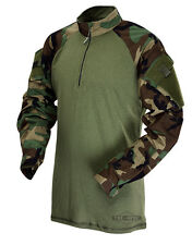 Woodland Camo 1/4 Zip Tactical Combat Shirt by TRU-SPEC 2545 / FREE SHIPPING