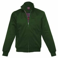 MENS MERC LONDON MOD CLASSIC HARRINGTON RED CHECK LINED JACKET - FOREST GREEN