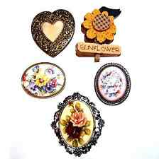 FLORAL BROOCHES PINS Porcelain Wood Antique Roses Pansies Sunflower Oval Heart J
