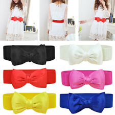 Fashion Ladies Women PU Stretch Elastic Waist Belt  Bowknot Bow Waistband Hot 2U