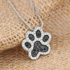 Fashion Jewelry Women Footprint Silver Rhinestone Crystal Chain Necklace Pendant