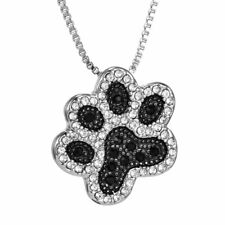 New Silver Handmade Crystal Rhinestone Animal Dog Paw Footprint Pendant Necklace