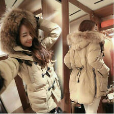 Chic Womens Duck Down Fur Collar Hooded New Jacket Winter Puffer Long Parka Coat