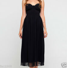 Motel Rocks Maddy Party Strapless Bandeau Black Maxi Dress Beads S M New BNWT