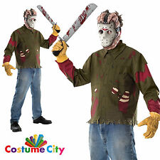Adult Friday the 13th Jason Voorhees Mask & Shirt Halloween Fancy Dress Costume