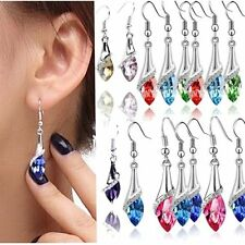 New White Gold Plated Beautiful Earrings Crystal Drop Dangle Stud Hook Jewelry