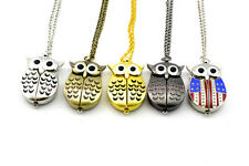 Fashion Unisex Owl Shaped Analog Quartz Necklace Pocket Watch Pendant W/Chain