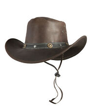 Western Hat Texas Cowboy Hat Leather With Chin Strap Brown Sizes S M L XL