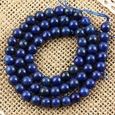 Blue Lapis Lazuli Gemstone Ball Bead Chakra Healing Loose Bead Jewelry Strand