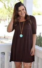 PLUS SIZE SOLID LITTLE BROWN BOHO BABYDOLL 3/4 SLEEVE SCOOP MINI DRESS 1X 2X 3X