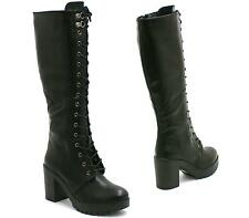 WOMENS BLACK LEATHER MID CALF KNEE LADIES GOTH PUNK BIKER RIDING BOOTS SHOES