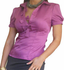 Blouse Ladies Shirt Tops Casual Short Sleeve Long Top Size Bow 10 12 14 16 18 20