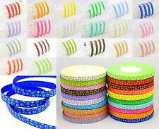 "Hot fashion 5YDS 3/8"" Printed Small Floral Grosgrain Ribbon DIY Craft Bow Pick"