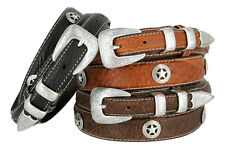 Western Silver Engraved Texas Ranger Star Genuine Bison Leather Belt