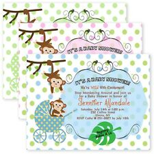 Cardstock Baby Shower Invitations Carriage Monkey Jungle Invitation personalized