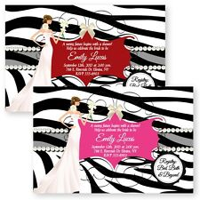 Zebra Pearl Personalized Bridal Shower Invitations Wedding Invitation Custom