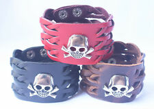 1pcs Genuine Leather Bracelet Silver Skull Men Leather Cuff Alloy Bracelet NK010