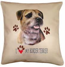 Border Terrier Heart Cotton Cushion Cover - Cream or White Cover - Gift Item
