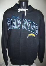 SAN DIEGO CHARGERS Full Zip Hoody with Sewn & Screened Logos-GRAY LARGE