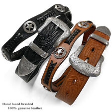 Texas Star - Mens Western Embossed Genuine Cowhide Leather Scalloped Belt, 1-1/2
