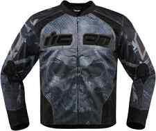 Mens Icon Black  Overlord Reaver Armored Textile Motorcycle Riding Biker Jacket