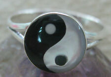 925 STERLING SILVER Mother Of Pearl Black White Ying Yang Ring Sz M O Q R