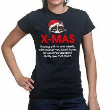 Grumpy Christmas Cat Xmas Tree Santa Funny Presents Gifts Womens T shirt