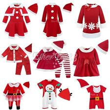 Baby Girls Boys Christmas Santa Claus Dress Costume+ Hat Outfit Toddlers Clothes