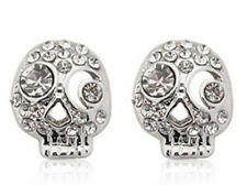 Costume Jewellery Crystal Skull Stud Earrings Silver or Gold Studs E82