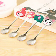 Kids Stainless Steel Spoon Cute Cartoon Silicone Handle Coffee Spoons Tableware