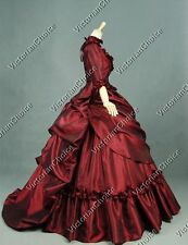 TOP QUALITY Victorian Bustle 5PC Satin Dress Ball Gown Theatre Women Costume 330