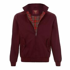MENS MERC LONDON MOD CLASSIC HARRINGTON RED CHECK LINED JACKET - WINE