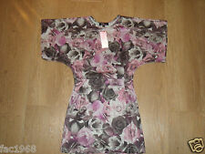 Rare Women's Skater Rose Floral Mini Party Dress Grey Black Pink  UK 8 10 New