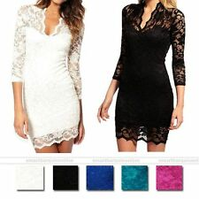 Womens Black White Lace Dress Sexy V Neck Slim 3/4 Sleeve Cocktail Party Dress