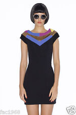 Motel Jet Party Bodycon Black Dress Cap Sleeve Metallic Gold / Multi Neck New