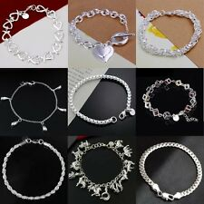 New Fashion Women Silver Crystal Chain Heart Cuff Charm Bangle Bracelet Jewelry
